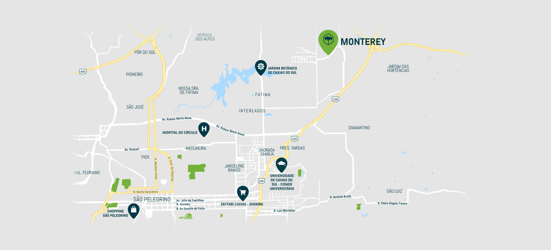 Localização Monterey Caxias